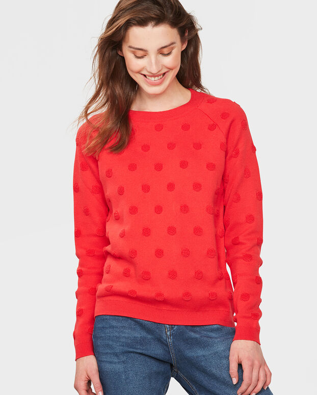 PULL A POIS FEMME Rouge