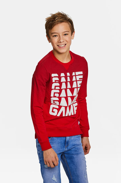 Jongens game over dessin sweater Rood