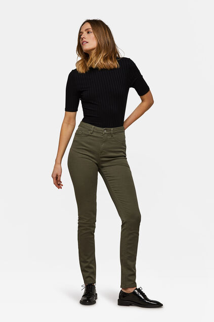 Dames high rise skinny comfort stretch jeans Khaki