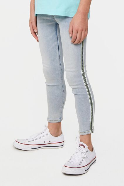 Jegging cropped super skinny fit à galon fille Bleu eclair