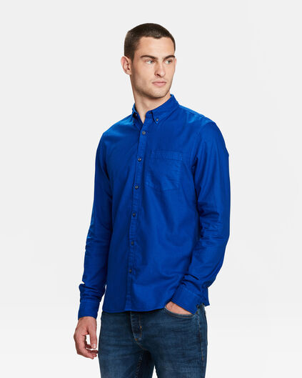 HEREN SLIM FIT OXFORD GARMENT DYED OVERHEMD Kobaltblauw