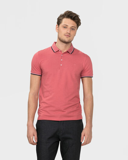 HEREN STRETCH PIQUE POLOSHIRT Lichtrood