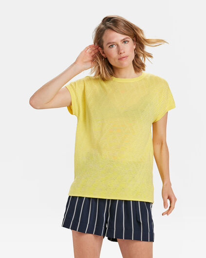 DAMES ZIGZAG RIB TOP Geel