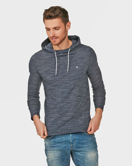 HEREN HOODED MELANGE SHIRT Donkerblauw