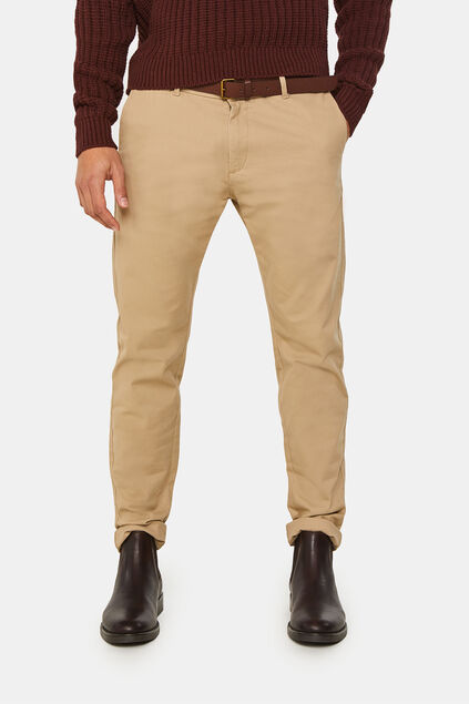 Heren effen skinny fit chino Beige