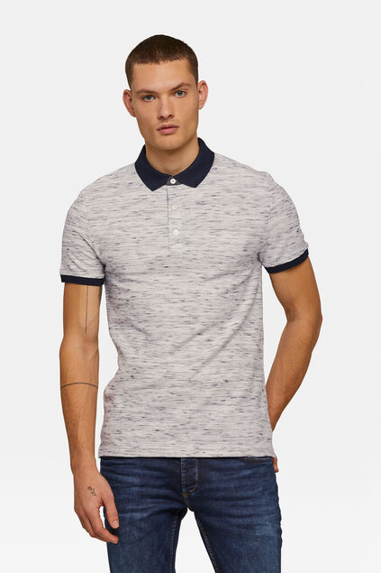 Polo chiné homme Blanc