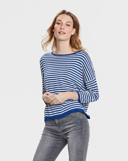 DAMES STRIPED TRUI Donkerblauw