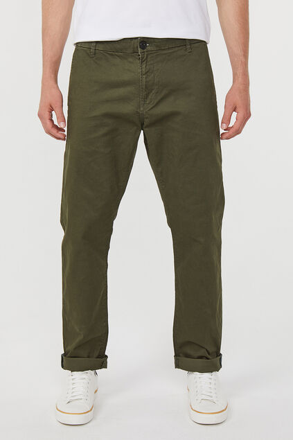 Heren regular straight fit chino Donkergroen