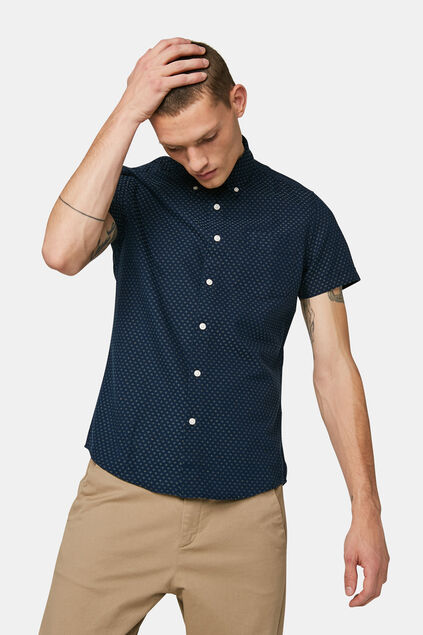 Heren slim fit jaquard overhemd Marineblauw