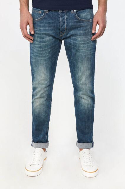 Jeans tapered fit super stretch homme Bleu
