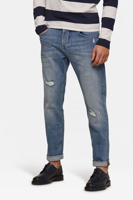 Heren relaxed tapered comfort stretch jeans Blauw