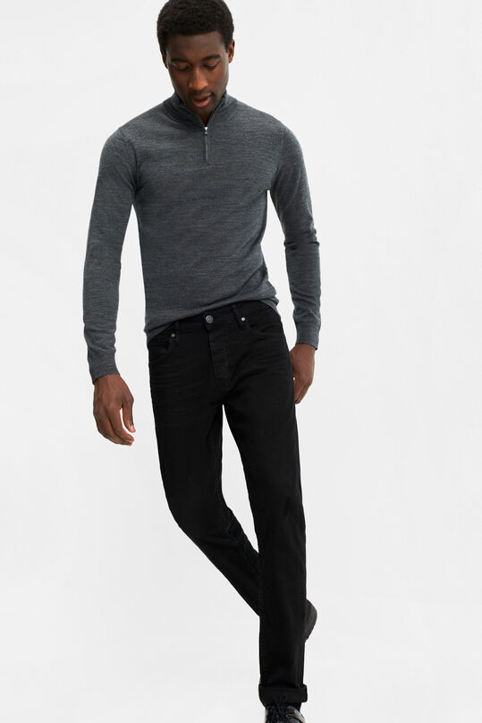 Heren tapered fit jeans met super stretch Zwart