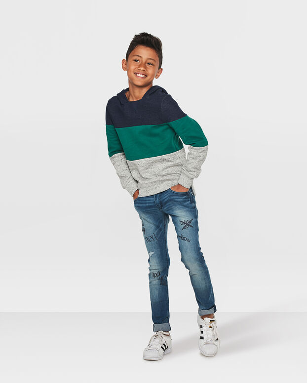 JONGENS COLOR STRIPE SWEATER Lichtgrijs gemeleerd