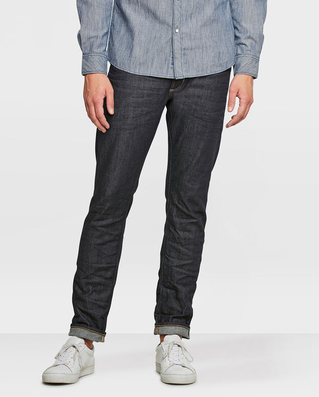 HEREN SLIM TAPERED COMFORT STRETCH SELVEDGE JEANS Donkerblauw