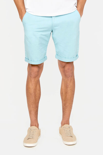 Heren slim fit chinoshort met stretch Lichtgroen