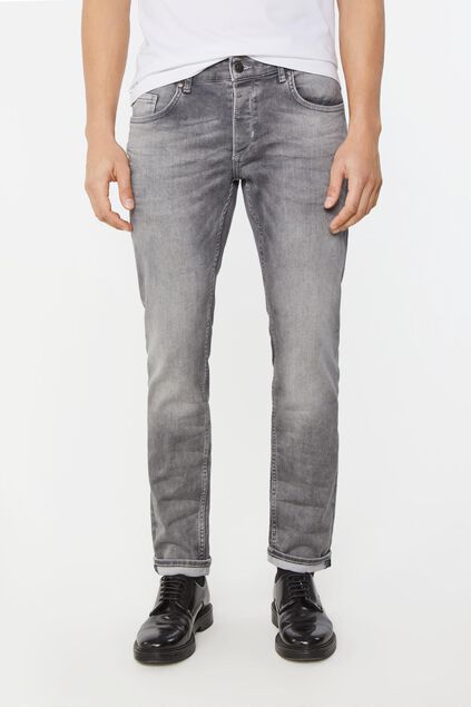 Heren slim fit tapered jeans Lichtgrijs