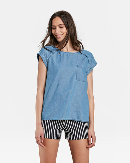 TOP ONE POCKET DENIM FEMME Bleu