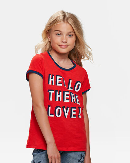 T-SHIRT HELLO PRINT FILLE Rouge