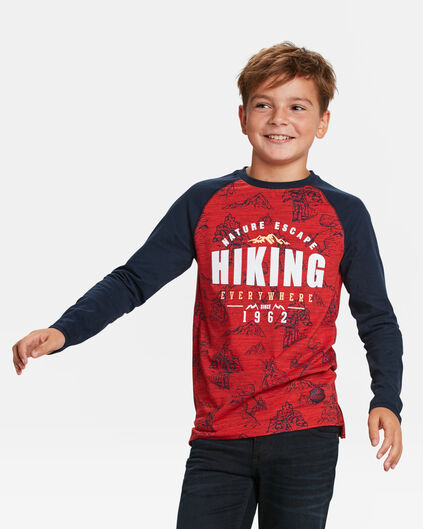 T-SHIRT HIKING PRINT GARÇON Rouge vif