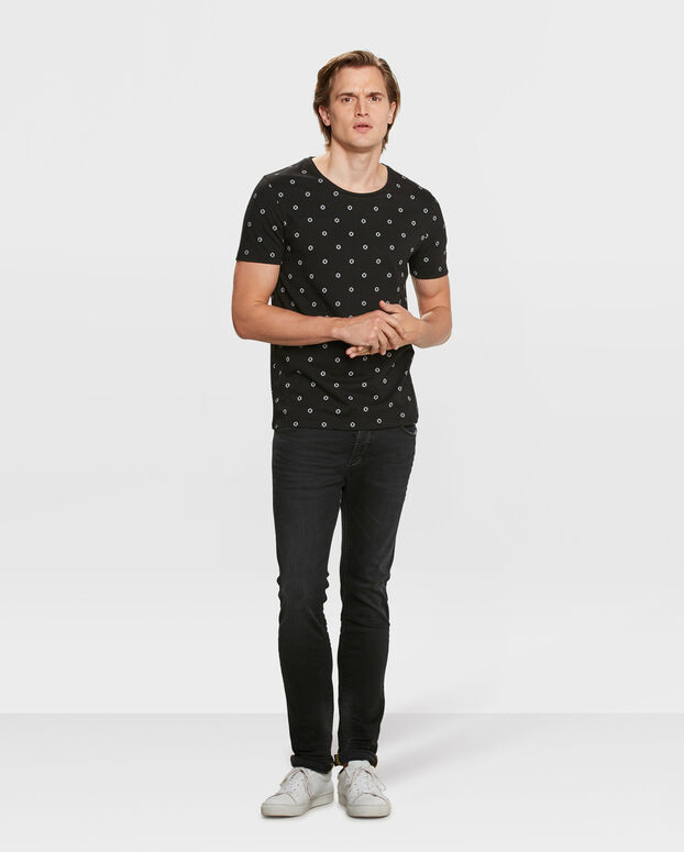 HEREN SLIM FIT GRAPHIC PRINT T-SHIRT Zwart