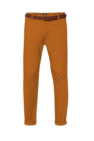 Heren uni slim fit chino_Heren uni slim fit chino, Kaneelbruin