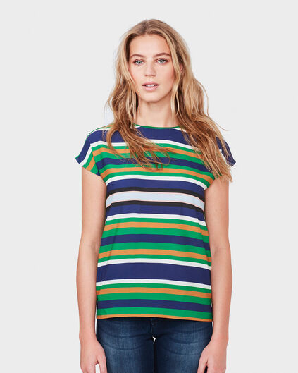 DAMES CONTRAST STRIPE TOP Groen
