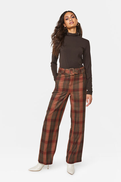 Dames high rise geruite broek All-over print