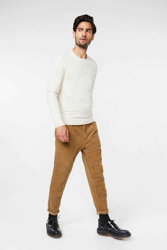 Heren loose fit corduroy chino Lichtbruin