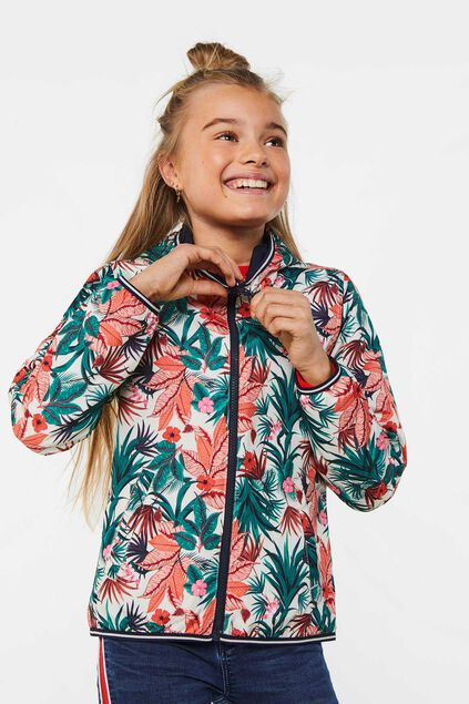 Meisjes reversible jas met capuchon All-over print