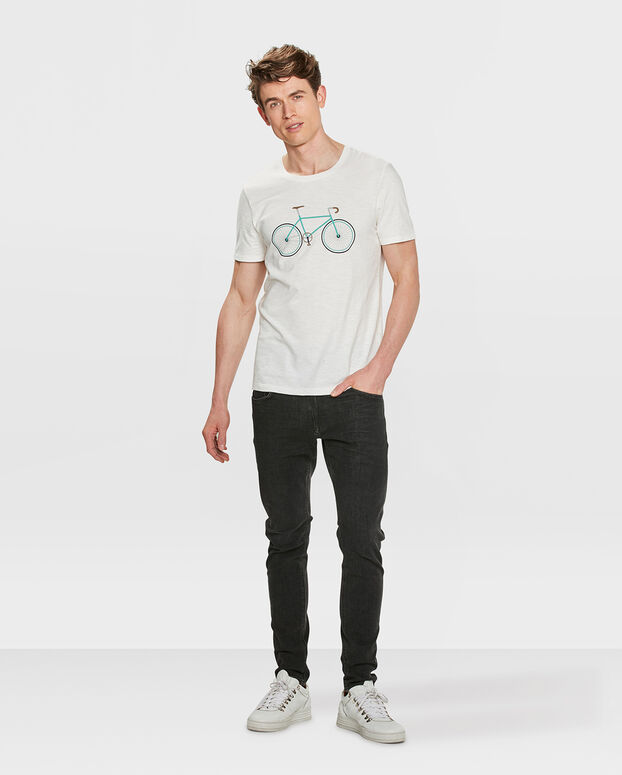 HEREN BIKE PRINT T-SHIRT Wit