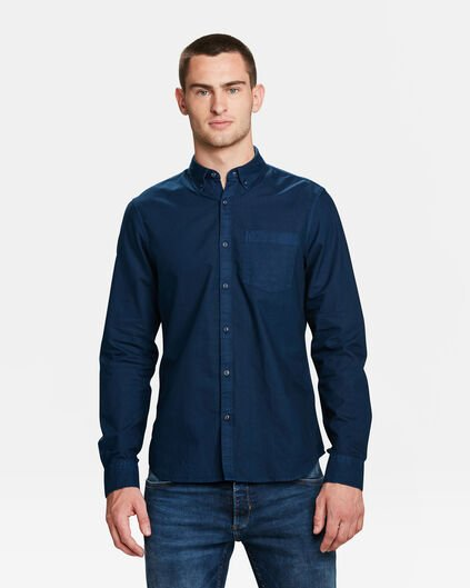 HEREN SLIM FIT OXFORD GARMENT DYED OVERHEMD Marineblauw