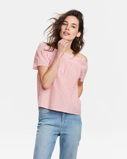 DAMES OFF-SHOULDER GESTREEPTE SMOCK TOP Koraalroze