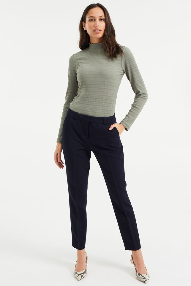 Dames regular fit pantalon met stretch Donkerblauw