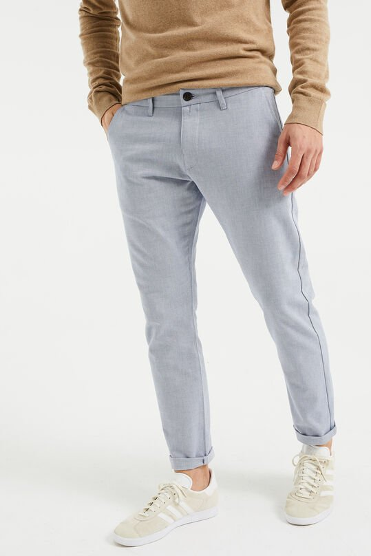 Heren Oxford chino met stretch Lichtblauw