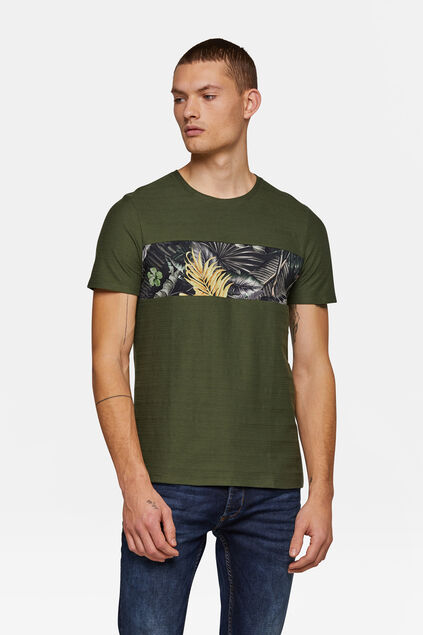 Heren bloemenprint T-shirt Groen