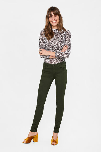 Dames mid rise skinny high stretch broek Donkergroen