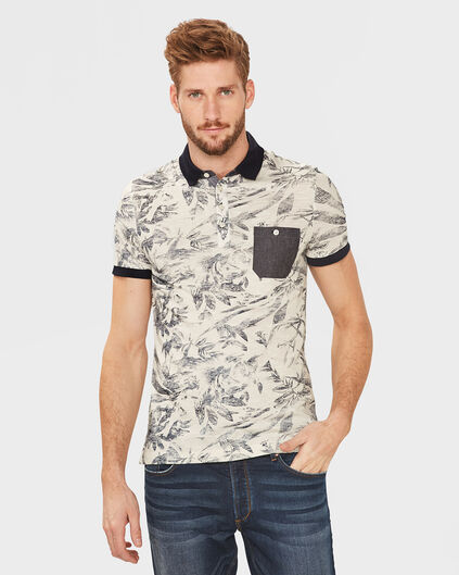 POLO ONE-POCKET PRINT HOMME Blanc cassé