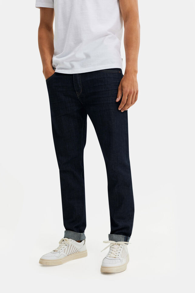 Heren athletic fit jeans met stretch Donkerblauw