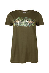 Dames jungleprint T-shirt_Dames jungleprint T-shirt, Legergroen