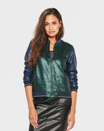 DAMES SEQUINS BOMBER JACKET Donkerblauw