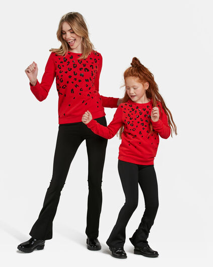 Mini me set: luipaard dessin pailletten sweater