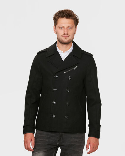 HEREN WOOL BLEND PEACOAT Zwart