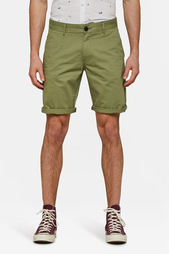 Heren regular fit chino short Olijfgroen