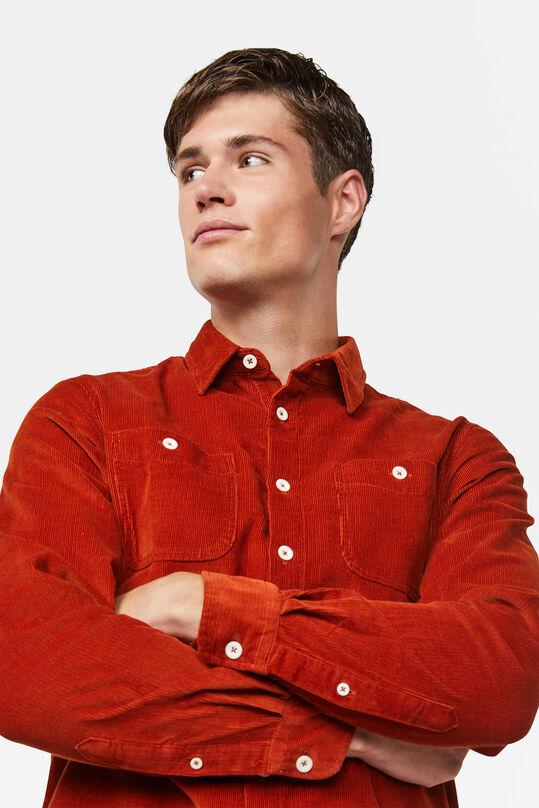 Heren regular  fit corduroy overhemd Roestbruin