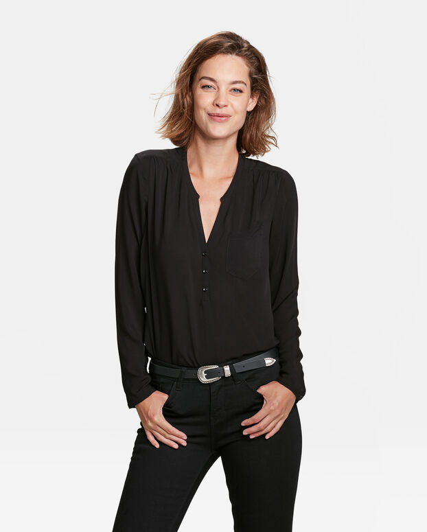 DAMES CHEST POCKET BLOUSE Zwart