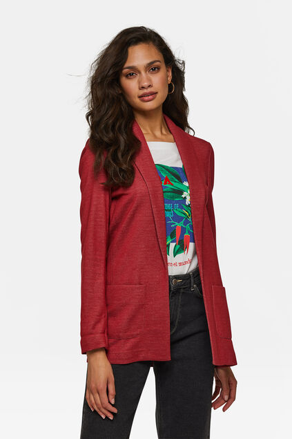 BLAZER REGULAR FIT MELANGE FEMME Rouge