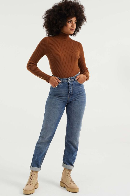 Dames mom fit jeans met stretch Blauw