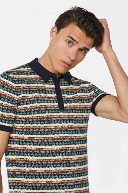 Heren polo met all-over dessin Multikleur