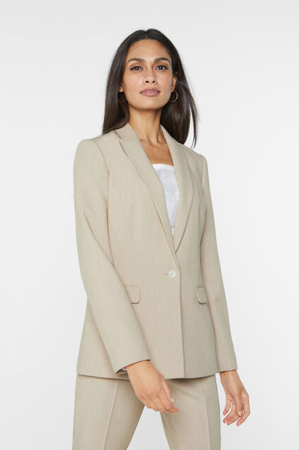 Blazer chiné regular fit femme Beige