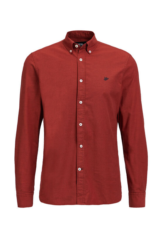 Heren Slim fit Oxford overhemd Donkerrood